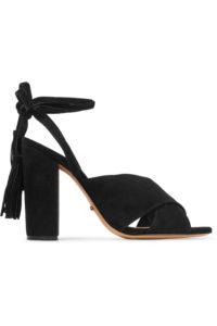 The Outnet SCHUTZ Damila Lace-up Tasseled Suede Sandals   Hermosaz