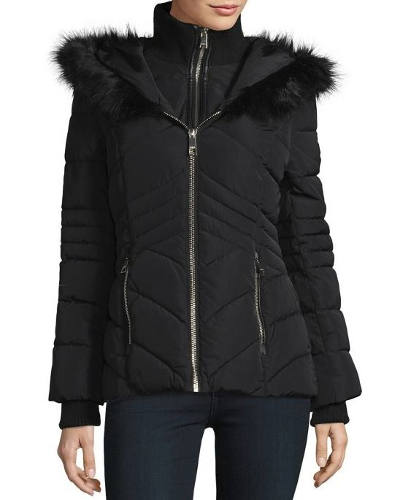 GUESS Faux Fur Trim Puffer Jacket | Hermosaz