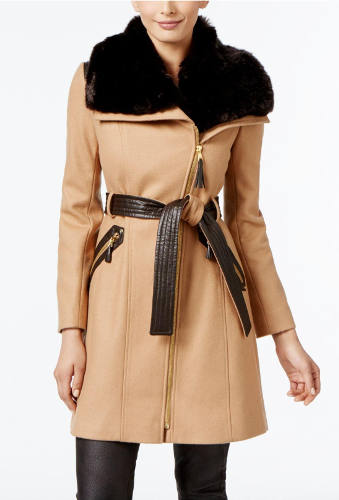 VIA SPIGA Mix Media Belted Coat | Hermosaz