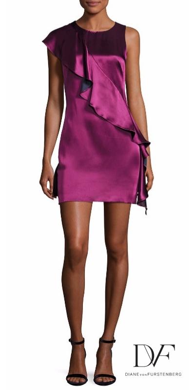 Diane von Furstenberg Sleeveless Crossover-Ruffle Satin Cocktail Dress | Hermosaz