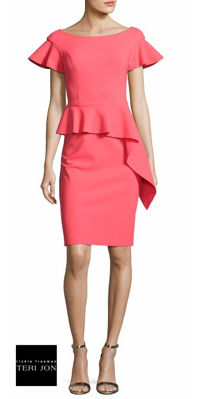 Rickie Freeman for Teri Jon Short-Sleeve Asymmetric Peplum Cocktail Dress | Hermosaz