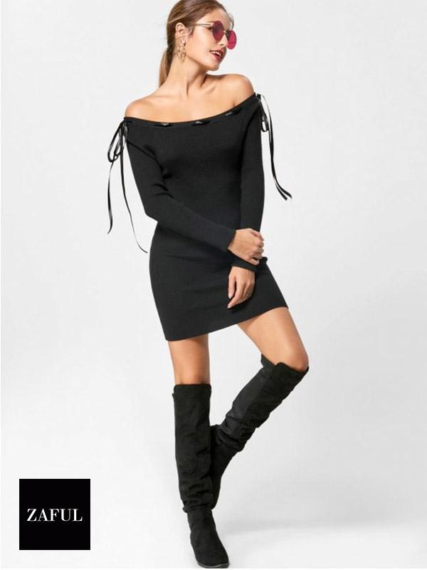 Off The Shoulder Jumper Dress | Hermosaz