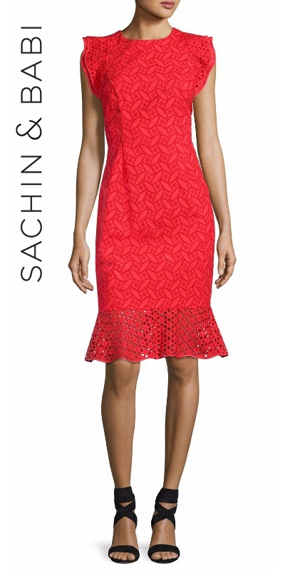 Sachin & Babi Harlow Sleeveless Embroidered Eyelet Cocktail Dress | Hermosaz