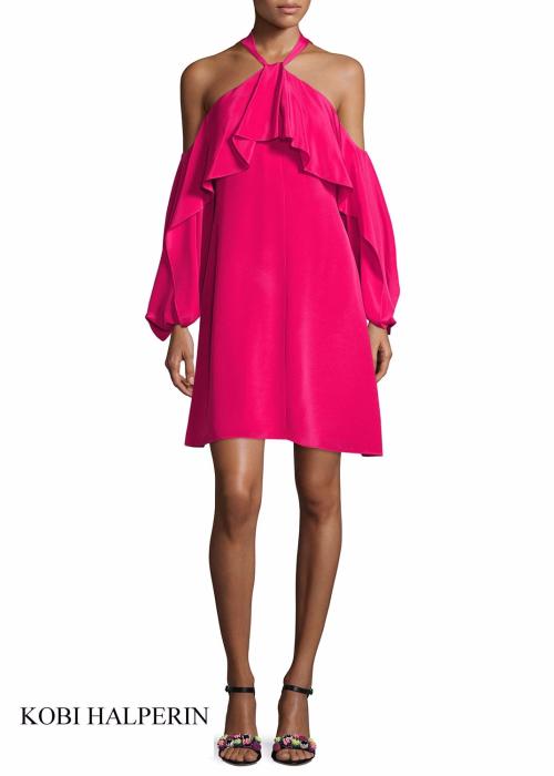 Neiman Marcus Kobi Halperin Janella Silk Cold-Shoulder Ruffle Cocktail Dress   Hermosaz
