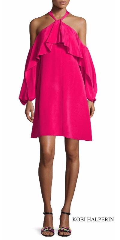 Kobi Halperin Janella Silk Cold-Shoulder Ruffle Cocktail Dress | Hermosaz