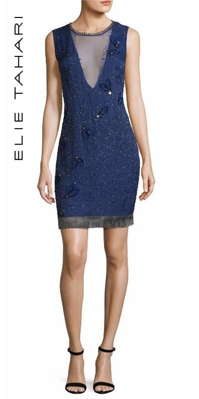 Elie Tahari Marcy Sleeveless Beaded Silk Cocktail Dress | Hermosaz