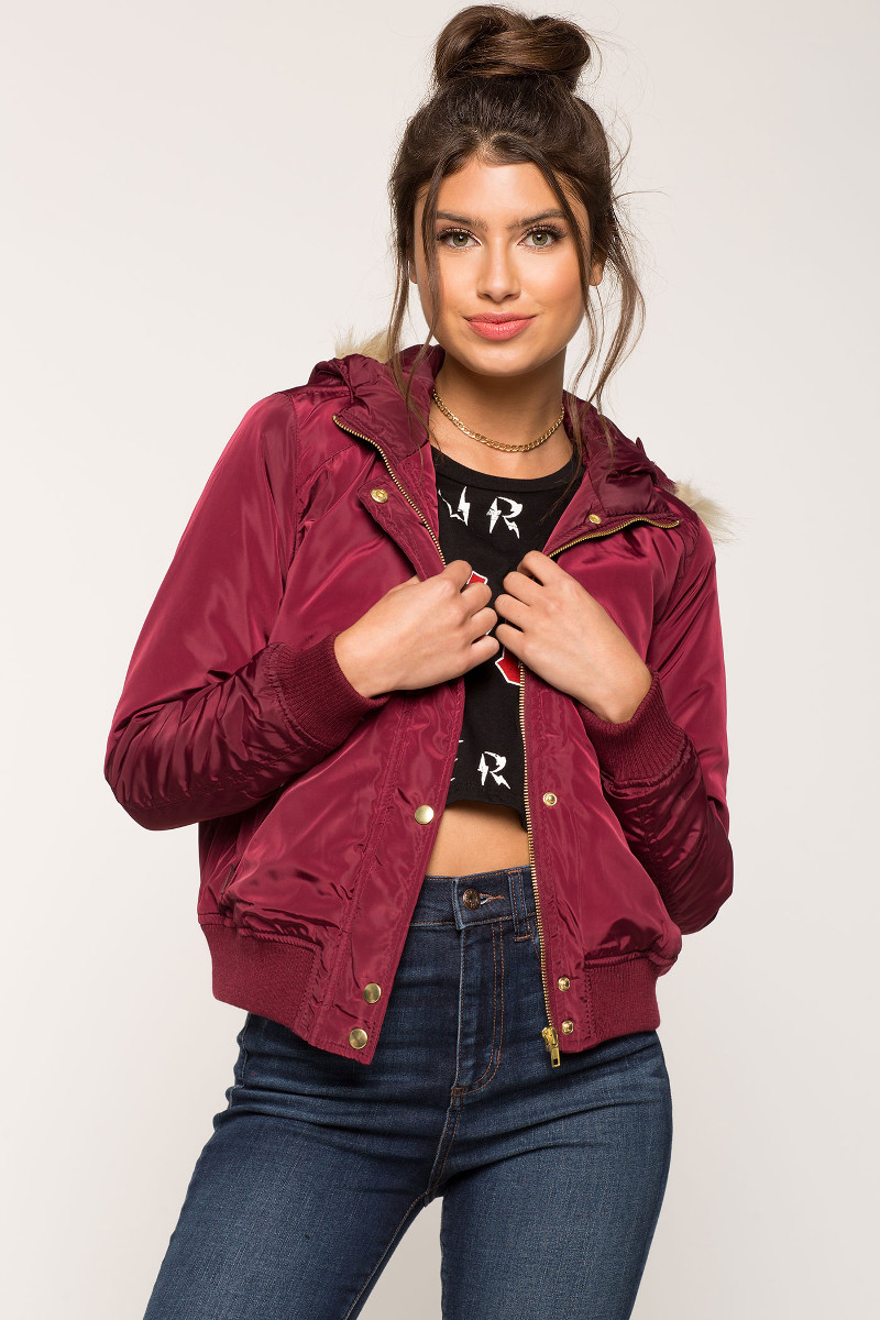 A'GACI Irene Bomber Jacket with Faux Fur Hood | Hermosaz