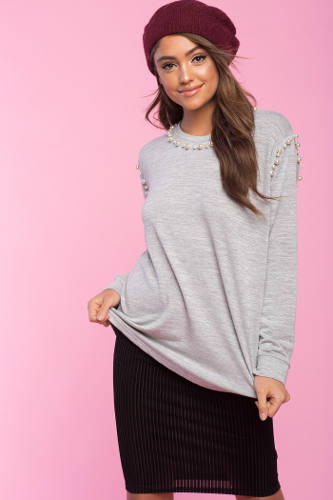 Agaci Pearl Trim Sweater | Hermosaz