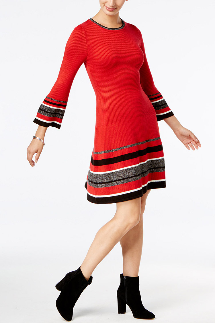 Jessica Howard Bell-Sleeve Sweater Dress | Hermosaz