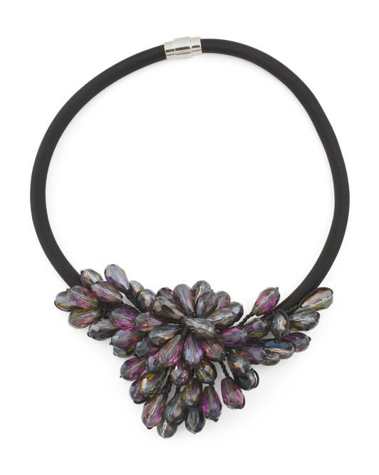 GARDENIA Gunmetal Crystal Wing Flower Collar Necklace | Hermosaz