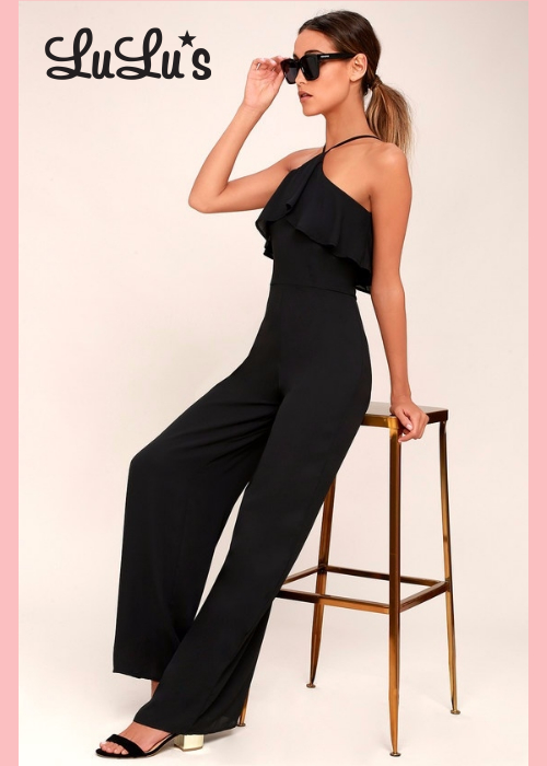 STARS COME OUT BLACK WIDE-LEG JUMPSUIT | Hermosaz