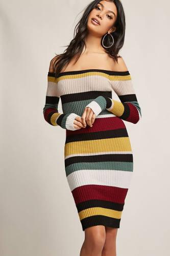 Forever 21 Ribbed Multistripe Colorblock Dress | Hermosaz