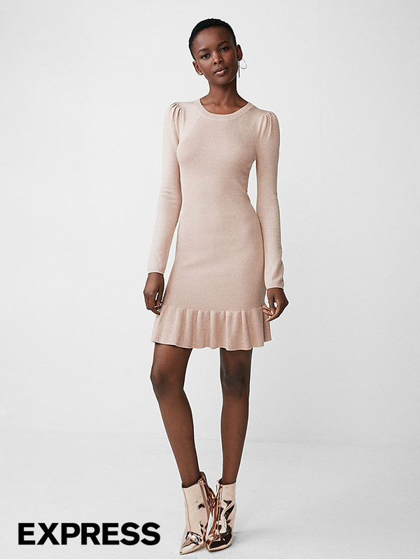 Metallic Ruffle Hem Sweater Dress | Hermosaz
