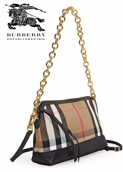 Jomashop BURBERRY House Check and Leather Clutch Bag   Hermosaz