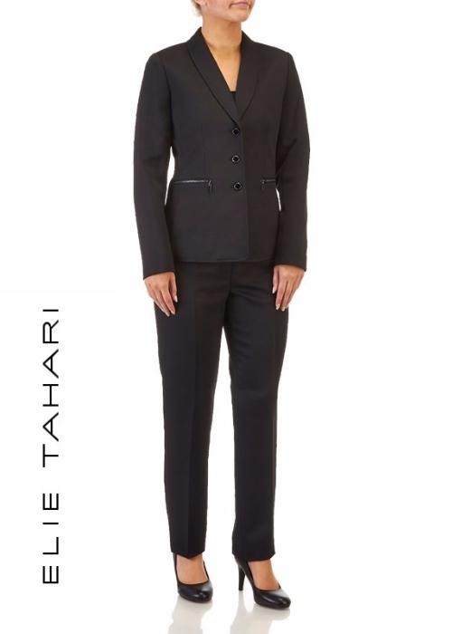 TAHARI Black Pinstripe 2-Piece Pant Suit | Hermosaz