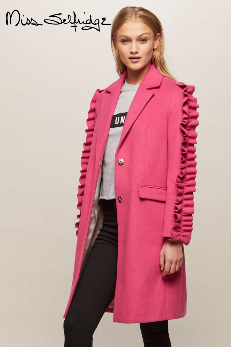 Miss Selfridge Pink Ruffle Sleeve Coat | Hermosaz