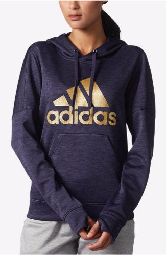 ADIDAS Metallic-Logo Fleece Hoodie | Hermosaz