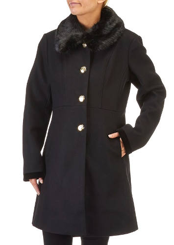 Burlington Coat Factory Wool Blend Coat with Faux Fur Collar and Corset Back | Hermosaz