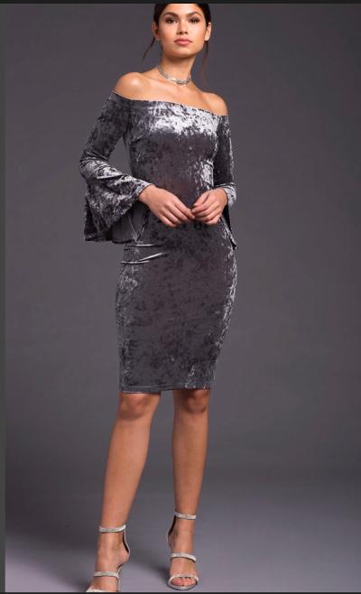 A'GACI Off My Shoulder Velvet Bodycon Dress | Hermosaz