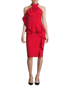 Theia | Ruffled Peplum Halter Dress | Hermosaz