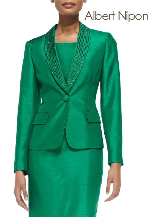 Albert Nipon Bead-Trim Sheath Dress with Jacket | Hermosaz
