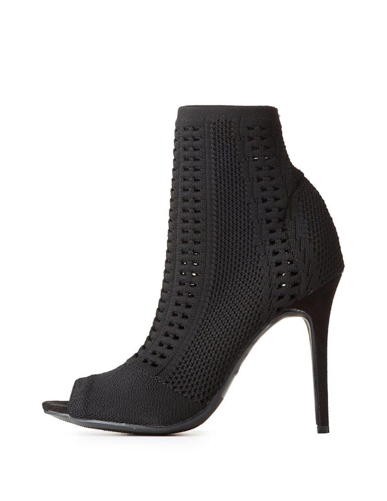 Charlotte Russe Open-Knit Peep Toe Ankle Booties Hermosaz