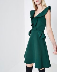 Dark Green Frill Front Peplum Skater Dress | Hermosaz