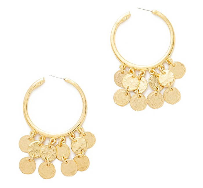 Kenneth Jay Lane Coins Hoop Earrings | Hermosaz