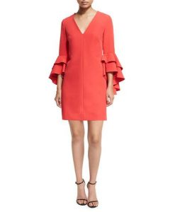Nicole Double Ruffled Bell-Sleeve Cocktail Dress | Hermosaz