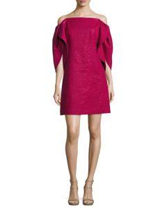 Off-the-Shoulder Structured-Sleeve A-Line Cocktail Dress | Hermosaz