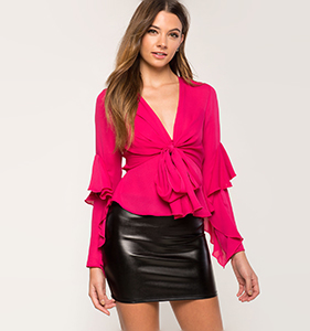 Ruffle Tie Front Blouse | Hermosaz
