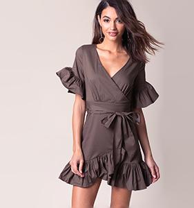 Kaylee Ruffle Wrap Dress | Hermosaz