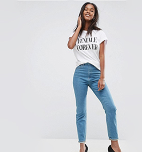 ASOS FARLEIGH High Waist Slim Mom Jeans in Xanadu Bright Blue | Hermosaz