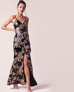 everlasting sequn print gown | Hermosaz