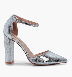 Erin Metallic Ankle Band Pointed Toe 2 Part Court | Hermosaz