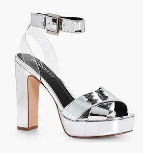 Julia Cross Perspex Strap Platform Heels | Hermosaz