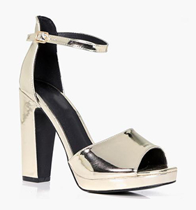 Natalie Platform Metalic Block Heel | Hermosaz