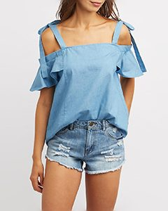 Chambray Ruffle trim cold shoulder top | Hermosaz