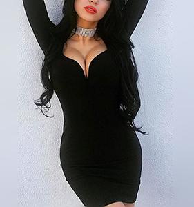 Black Plunge Long Sleeve Bodycon Mini Dress | Hermosaz