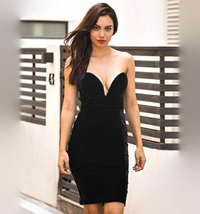 Black Bandeau V Neck Velvet Bodycon Mini Dress | Hermosaz