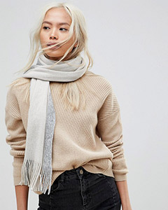 French Connection Oversized Color Block Gray Scarf | Hermosaz