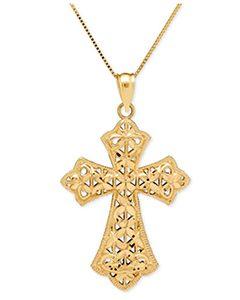 Filigree Cross Pendant Necklace in 14k Gold | Hermosaz