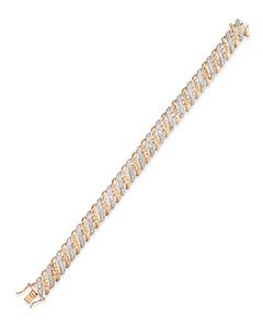 Diamond Accent Glitz Bracelet in 18k Rose Gold-Plated Sterling Silver and Rhodium   Hermosaz