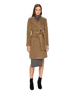 Diane von Furstenberg Double Breasted Tie Waist Wool Coat | Hermosaz