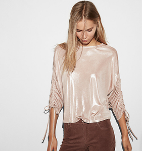 Long Ruched Sleeve Top | Hermosaz