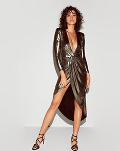 Metallic Asymmetrical Hem Maxi Dress | Hermosaz