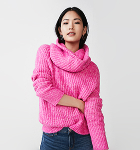 Built-In Snood Two-Way Sweater | Hermosaz