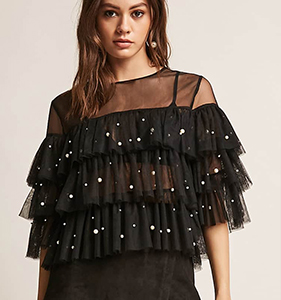 ETA Faux Pearl Sheer Mesh Tiered Top | Hermosaz