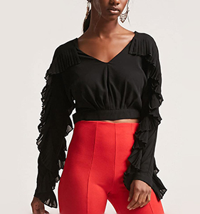 Pleated Flounce Crop Top | Hermosaz