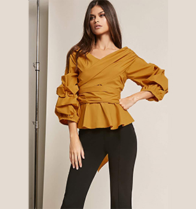 ETA Off-the-Shoulder Peplum Wrap Top | Hermosaz